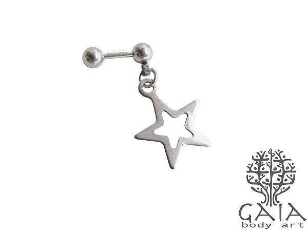 Micro Barbell Aço Pingente Estrela