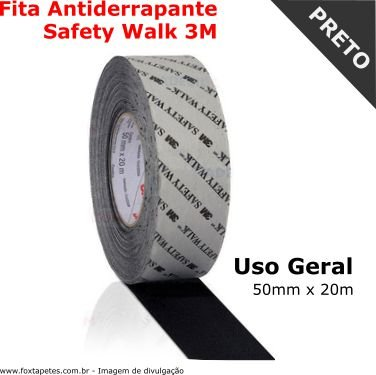 Fita Antiderrapante Safety Walk 3M - Uso Geral - Preto - 50mm x 20m