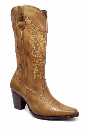 Bota Texana Feminina em Couro cor Capim
