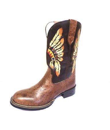 Bota Texana Masculina em couro legitimo cor Café Avestruz - Coleção 2017
