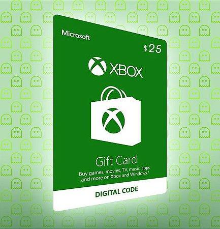 Microsoft Gift Card Cartão Xbox Live Americana $25 Imediato