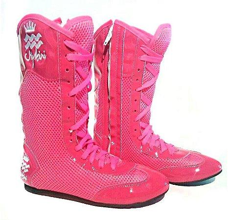 Bota de Treino Cano Alto com Zíper Pink