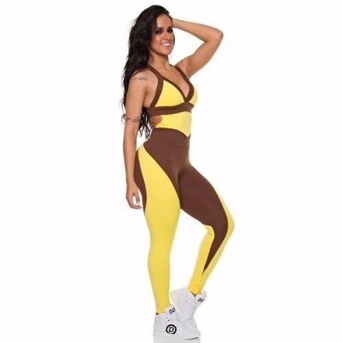 Macacão Recorte Marrom Amarelo