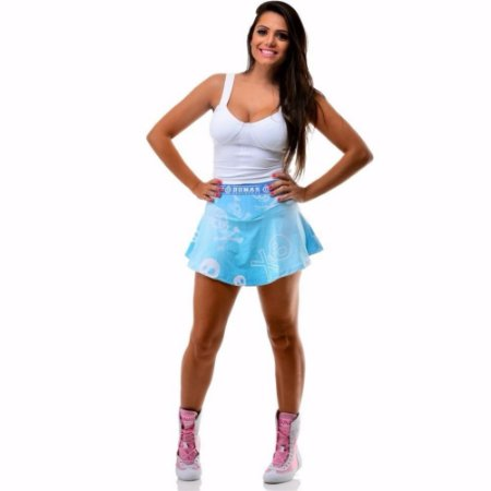 Short Saia Jeans Caveiras