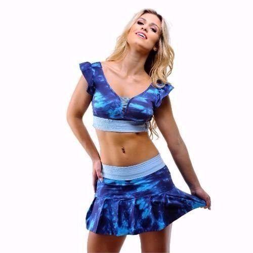 Short Saia Prega Tie Dye Azul