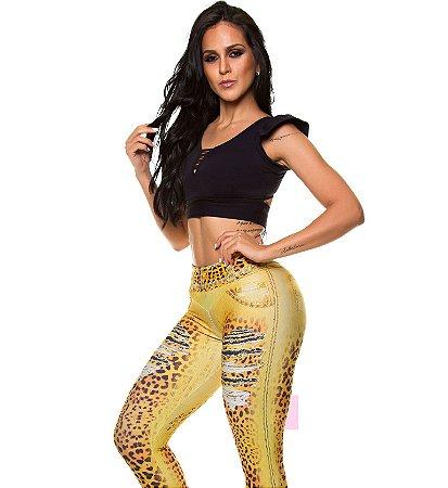 Legging Digital Jeans Onça Dourado