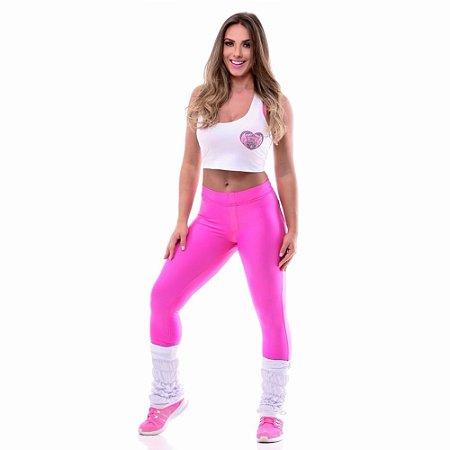 Legging Cós Alto Bolso Cirre Pink