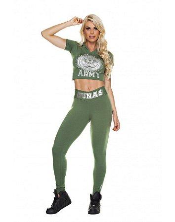 Legging Cós V Army Verde