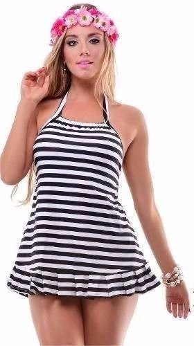 Vestido de Praia Babado Listrado