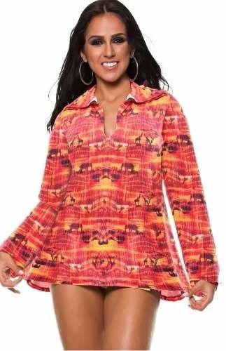 Vestido de Praia África Laranja