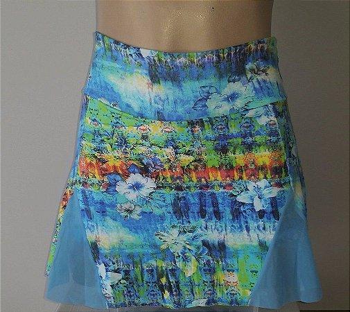 Short Saia Detalhe Tule Azul Estampada