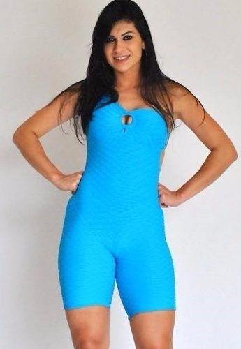 Macaquinho Um Ombro Jacquard Azul