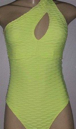 Body Brocado Amarelo Flúor (COM AVARIA)