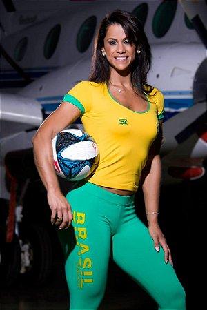 Blusa Manga Curta World Cup Brasil Amarela