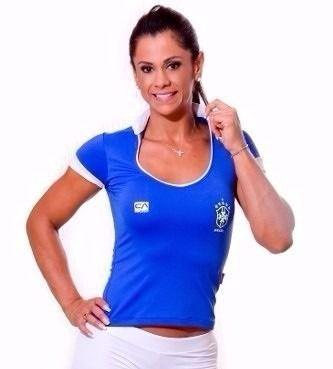 Blusa Manga Curta World Cup Brasil Azul (COM AVARIA)