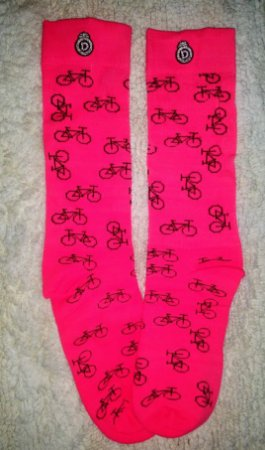 Meia Longa Ciclismo Fitness Rosa Flúor Bikes