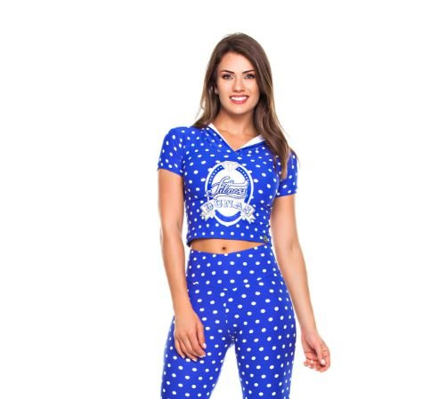 Blusa Capuz Poá Azul