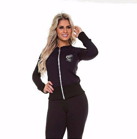 Jaqueta Suplex Fashion Preta (PEQUENA AVARIA)