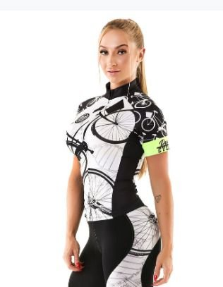 Camisa Feminina Manga Curta Bike Preto Branco