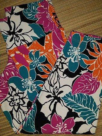 Calça Corsário Flowers Laranja (COM AVARIA)
