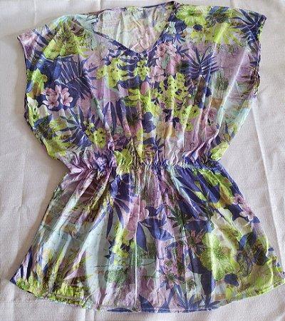 Vestido Saída de Praia Estampa Lilás