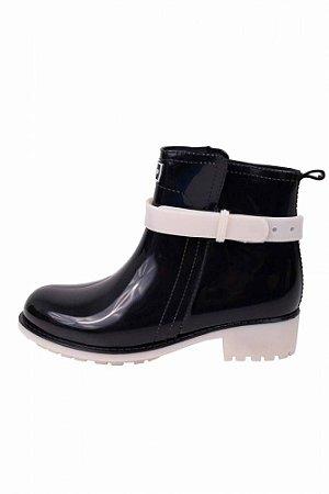 Bota KT006 - Ankle Boot Preta com Branca - Késttou