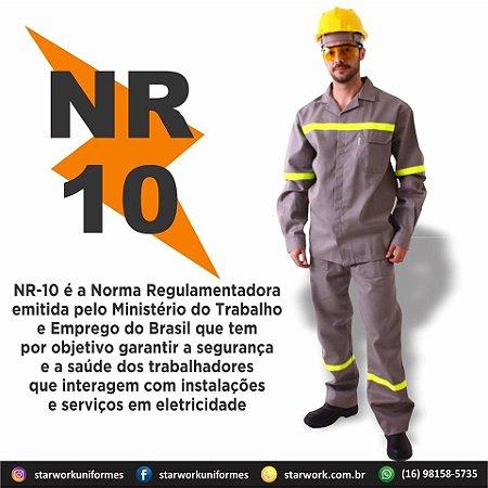 Modelo: Conjunto profissional (Calça e Camisa) NR1O com registro CA.
