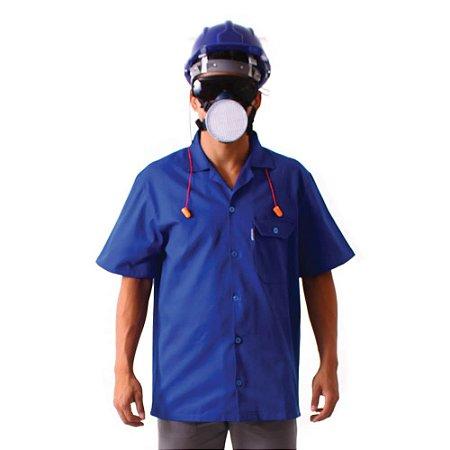Camisa profissional aberta de brim manga curta