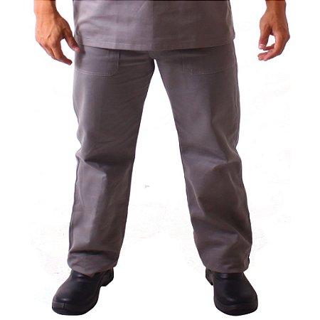 Calça profissional meio elástico em brim
