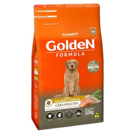 Ração para Cães Adultos Golden Formula Salmão e Arroz