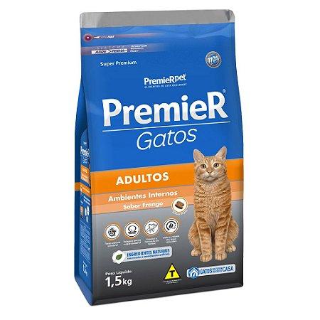 Ração para Gatos Adultos Premier Gatos Adultos Ambientes Internos Frango