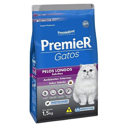 Ração para Gatos Adultos Premier Gatos Pelos Longos Salmão