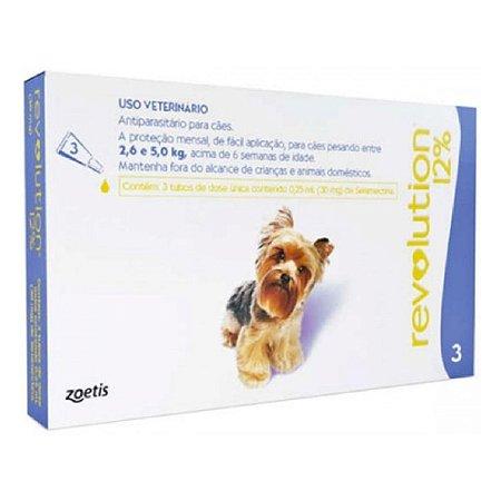 Antipulgas e Carrapatos Revolution para Cães 2,6 a 5kg - 3 Unidades