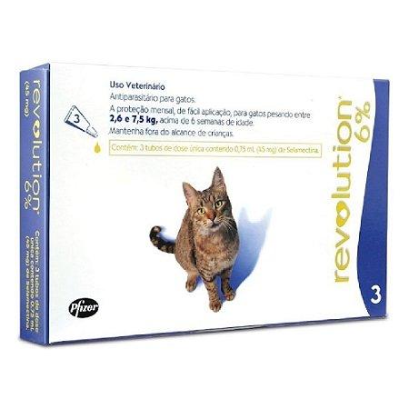 Antipulgas Revolution para Gatos 2,6 a 7,5kg - 3 Unidades
