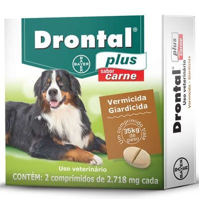 Vermífugo Drontal Plus Sabor Carne para Cães de 35 Kg - 2 comprimidos