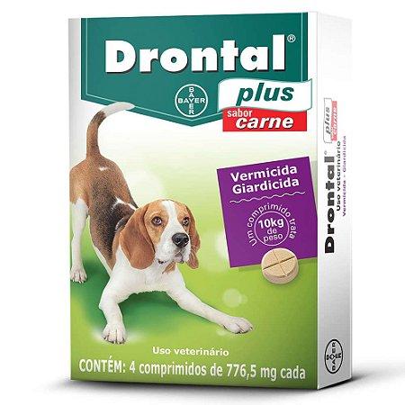 Vermífugo Drontal Plus Sabor Carne para Cães de 10kg - 4 comprimidos