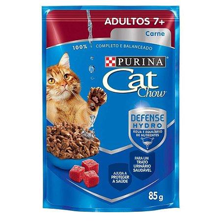 Ração Úmida para Gatos Adultos Cat Chow Sache 7+ Carne 85g