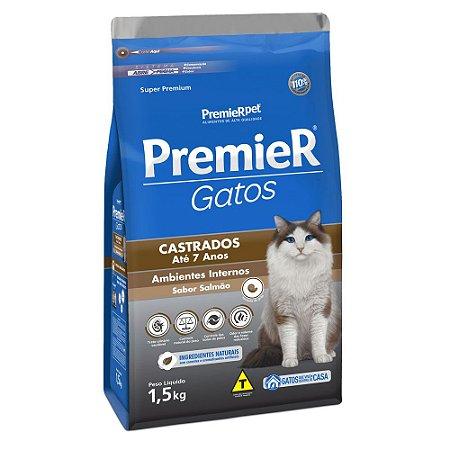 Ração para Gatos Adultos Premier Gatos Castrados Até 7 Anos Salmão