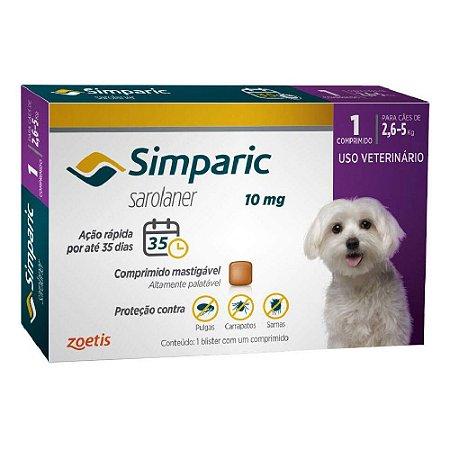 Antipulgas e Carrapatos Simparic Comprimido para Cães 2,6 a 5kg