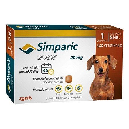 Antipulgas e Carrapatos Simparic Comprimido para Cães 5,1 a 10kg