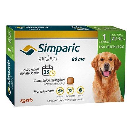 Antipulgas e Carrapatos Simparic Comprimido para Cães 20,1 a 40kg
