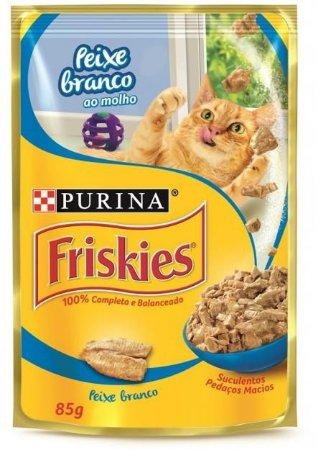 Ração Friskies Sache Peixe Branco ao Molho para Gatos 85g