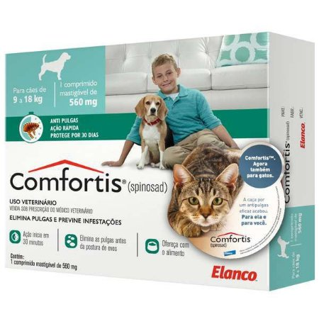 Antipulgas Comfortis para Cães de 9 a 18kg e Gatos de 5,4 a 11kg - Elanco