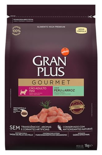 Ração para Cães Adultos Gran Plus Gourmet raças Médias e Grandes Peru e Arroz 10,1Kg