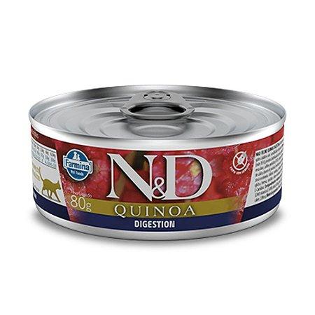Ração para Gatos Adultos Farmina N&D Quinoa Lata Digestion Cordeiro 80g