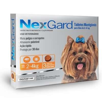 Anti Pulgas e Carrapatos Merial Nexgard 11,3 mg para Cães de 2 a 4 Kg - 3 unidades