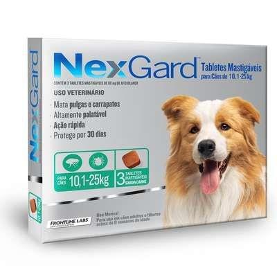 Anti Pulgas e Carrapatos Merial Nexgard 68 mg para Cães de 10,1 a 25kg - 3 unidades
