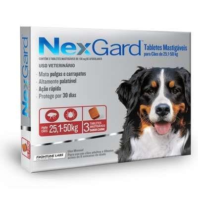 Anti Pulgas e Carrapatos Merial Nexgard 136 mg para Cães de 25,1 a 50kg - 3 unidades