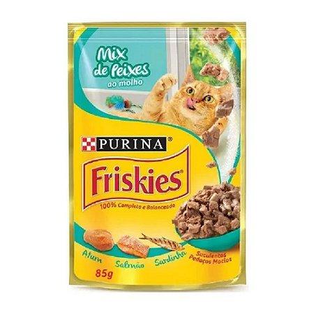 Friskies Sachê para Gatos Adultos sabor Mix de Peixes 85g