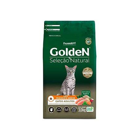 Golden Seleção Natural para Gatos Adultos sabor Frango e Arroz 3kg
